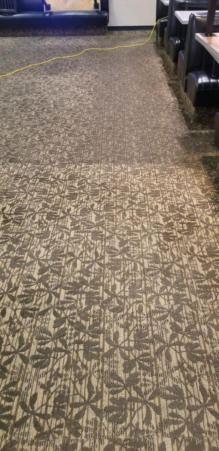 white and brown patterned carpet with clean and dirty results