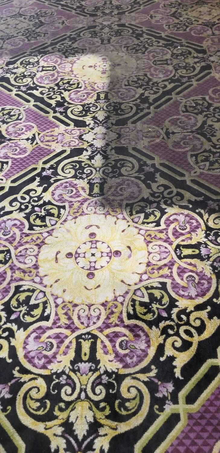 purple and yellow carpet with clean and dirty results